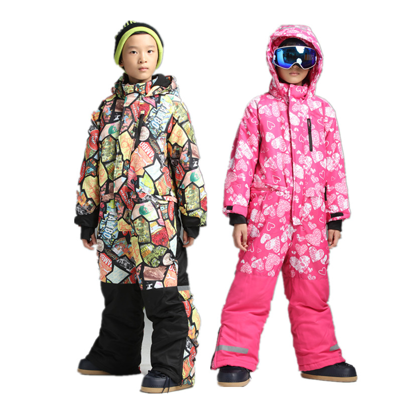 Boys one piece ski suit snowsuit overalls snowboard jumpsuit ski suits kids winter jacket for children warm romper -30 degrees mioigee 2017 girls ski suit winter children clothing for boys suits jacket coat overalls windproof snowsuit baby outwear sets