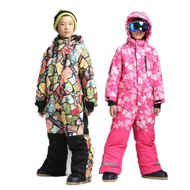 41fbbf3266ae Boys one piece ski suit snowsuit overalls snowboard jumpsuit ski ...