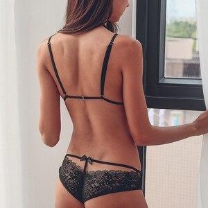 Image 4 - Soutien gorge et culotte Ultra fins Push Up, col français, Lingerie Sexy sans fil, ensemble culotte de tentation, sous vêtements costume
