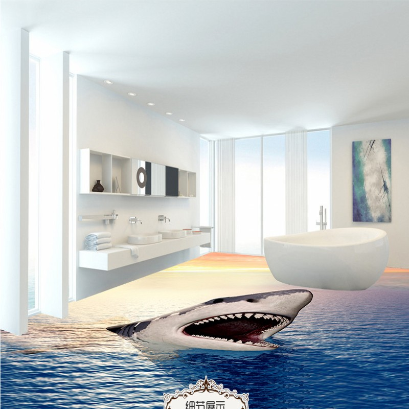 Free Shipping Big Shark 3D floor thickened non-slip bedroom living room bathroom study lobby kitchen flooring wallpaper mural free shipping realistic large pond carp floor 3d wear non slip thickened kitchen living room bathroom flooring wallpaper mural