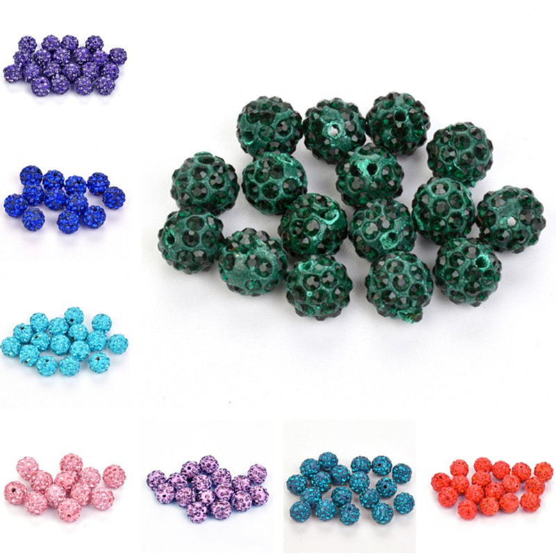 Beads 50pcs/lot Clay Rhinestone Crystal Shamballa Beads For Bracelet Necklace 10mm 32color Round Pave Disco Ball Beads Beads & Jewelry Making