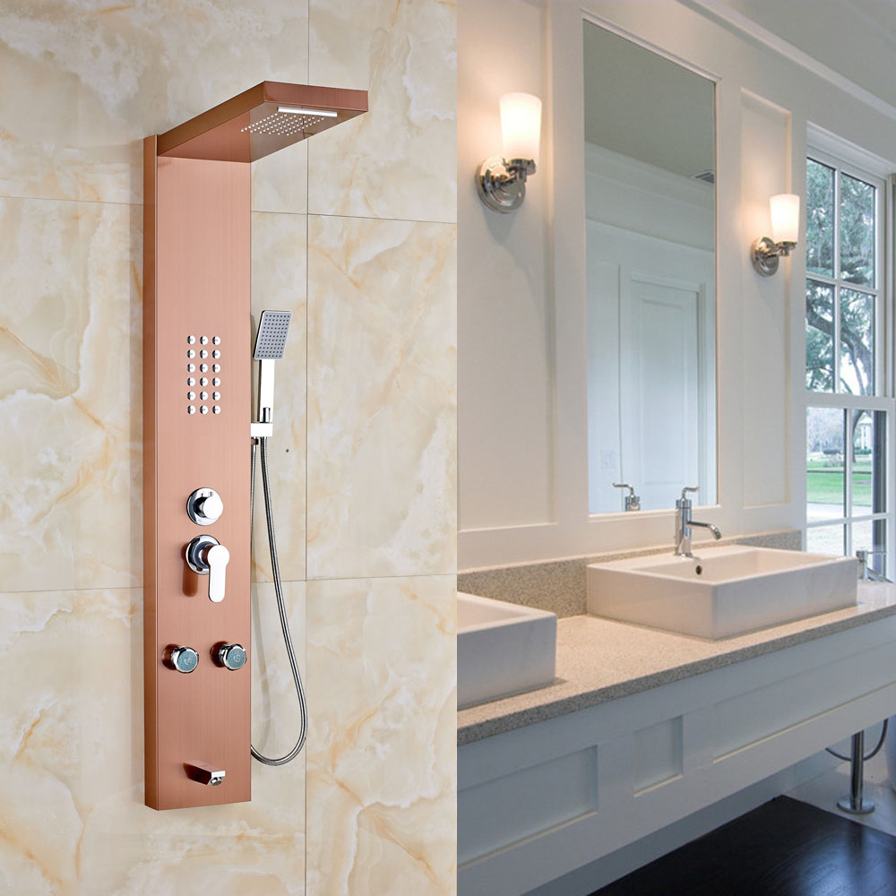 Back To Search Resultshome Improvement Rose Gold Finished Wall Mounted Rainfall Shower Head Bathroom Shower Faucet Set With Hand Sprayer Shower Panel High Quality And Inexpensive
