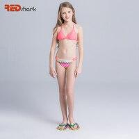 REDshark 2017 Dziewczyny Strój Kąpielowy Dwuczęściowy strój kąpielowy Dla Dzieci Różowy Patchwork Bikini Set Śliczne Dzieci Kostiumy kąpielowe dla Dzieci Swim Wear