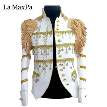 La MaxPa 2017 male singer DJ stage costume Club bar hosted Jacket Dj Costume Slim fashion performance men suit Clothes yy32