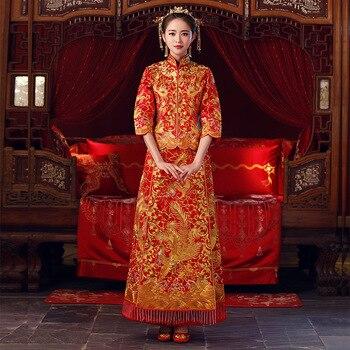 34f51ba60 Novia de Cheongsam de estilo chino Vintage boda Vestido Retro brindis ropa  dama bordado Phoenix vestido de matrimonio Qipao rojo ropa