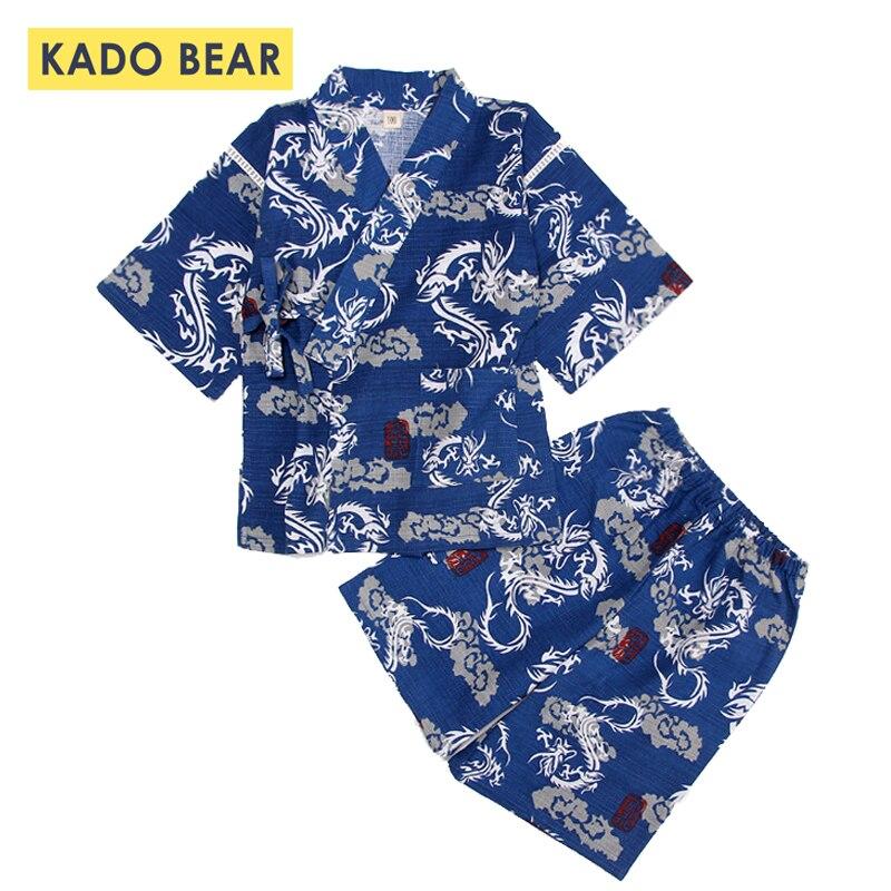 Ensemble pyjama Kimono en coton doux   Vêtements dété, pour bébé fille, vêtements de nuit ménager, sous-vêtements, pour enfant en bas âge garçon