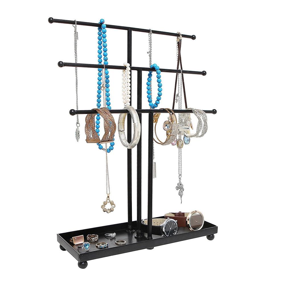 Decorative Hanger Organizer Iron Display Stand 3 Tier Earring Art Ring Tower Storage Racks Necklace Holder Pendant Tray Bracelet