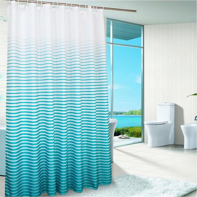 Superior New Hooks Waterproof Shower Curtain Blue Striped Eco Friendly Shower  Curtains Polyester Curtain For The
