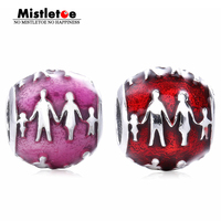 Original Authentic 925 Sterling Silver Family Silhouette Transparent Fuchsia Enamel Charms Enamel Beads Fit Pandora Bracelets