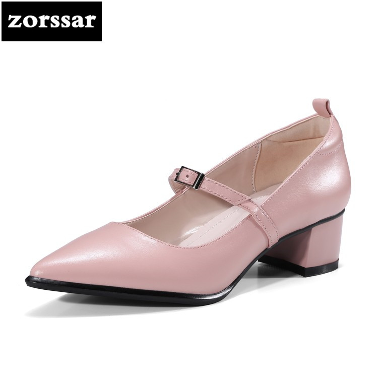 {Zorssar} 2018 New Mary Jane Heels Womens Single shoes Summer Shoes Women High Heels Pointed toe pumps Party Dress Comfy shoes купить недорого в Москве