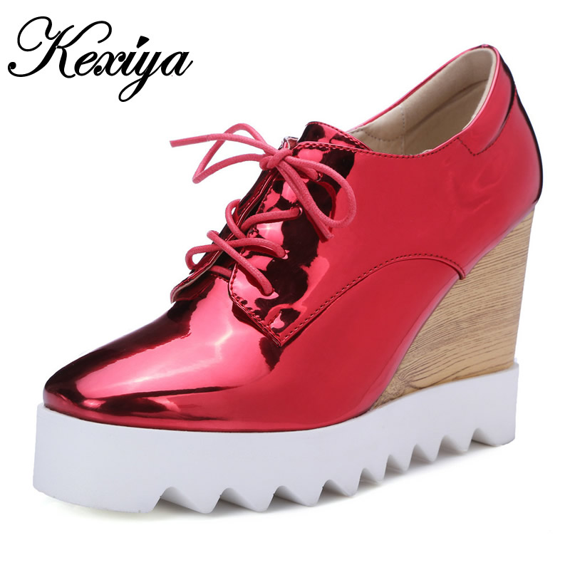 цены  2016 Spring/Autumn women pumps fashion Square Toe Lace-Up ladies shoes silver platform Wedges high heels zapatos mujer 33-40