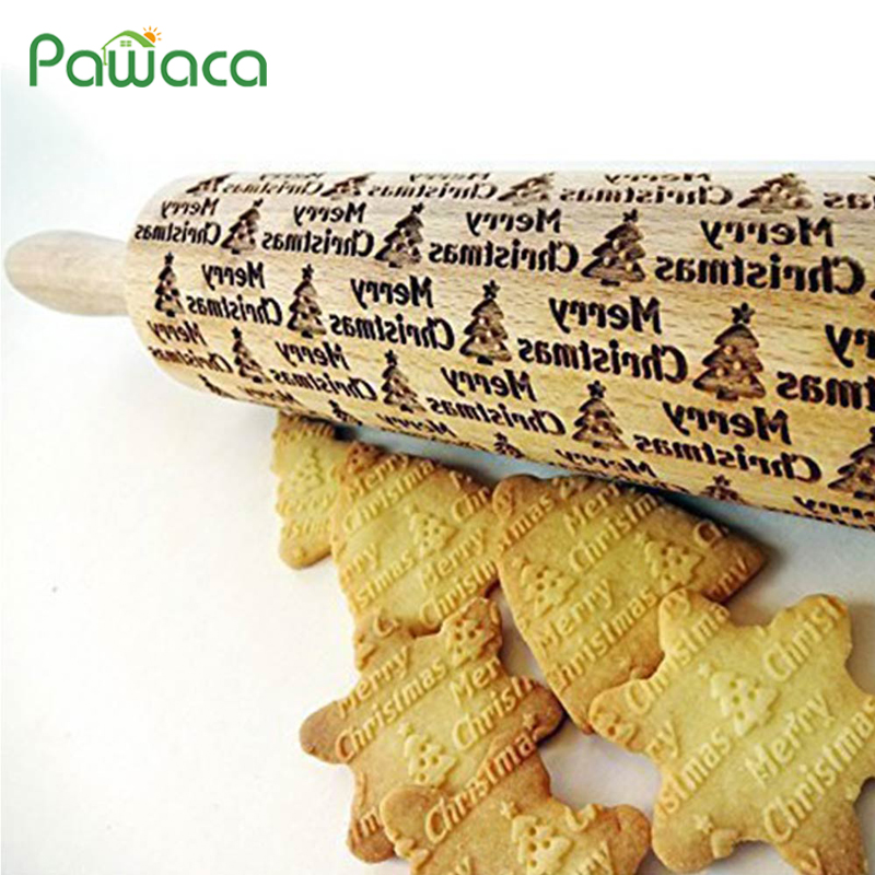 Pasador de rodillo de Navidad para hornear galletas Fondant pastel masa rodillo grabado muñeco de nieve árbol de Navidad 35 cm 43 cm