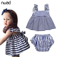 Baby Girl Summer Clothes 2017 Fashion Princess Striped Infant Baby Dress Newborn Baby Clothing Sleeveless Dreeses + Shorts FF073