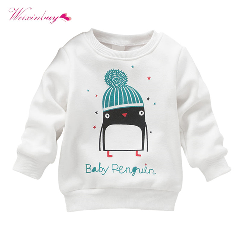 2017 Newborn Kid Cotton Sweater Penguin Print Baby Girl Pullover Long Sleeve Sweater geometric spliced print round neck long sleeve sweater