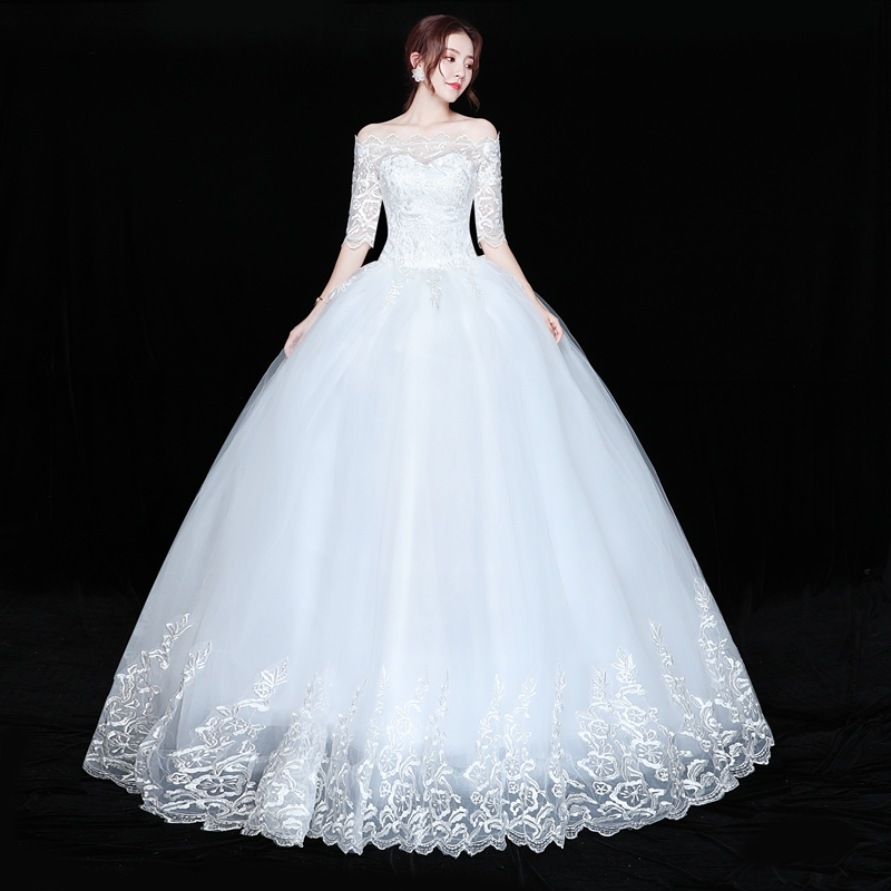 Fansmile Robe De Mariage Vintage Lace Up Ball Wedding Dresses 2020 Plus Size Vestido De Noiva Bridal Wedding Gowns FSM-612F