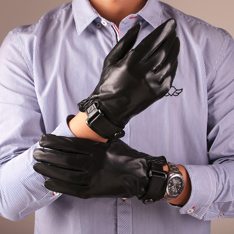 Free Shipping 2017 New Men Genuine Leather Gloves Warmth Solid Sheepskin Glove Fashion Wrist Winter Warm Gloves Driving CYM03
