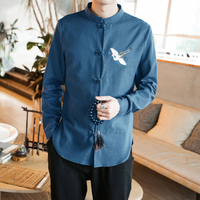 2018 Autumn Chinese Traditional Men's Tang Suit Tops Oriental Shirts For Men Hanfu Blouse Cheongsam Vintage Style Clothing