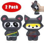 Cartoon Black Cute Adorable Toys Squishies Ninja Panda&Ninja Fox Scented Slow Rising Squeeze Stress Reliever Toy