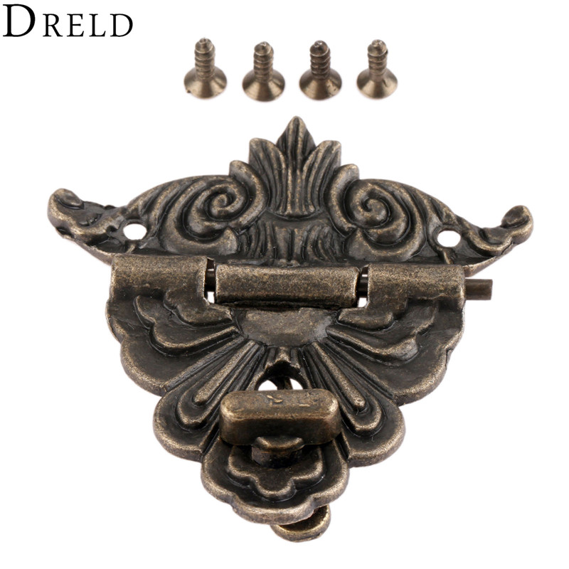 DRELD 54*58mm Antique Box Latches Funiture Hardware Vintage Decorative Hasp Lock Latch For Jewelry Wooden Box Drawer With Screws