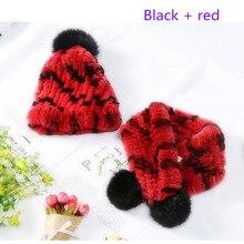 Детская новая кроличья меховая шапка Зимний теплый шарф шапка шарф костюм для девочек и мальчиков Толстая теплая шапка шарф горячий