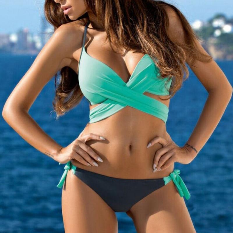 Women Plus Size Colorful Bikini Set Push-up Bra Swimsuit Swimwear Triangle Bathing Suit 2