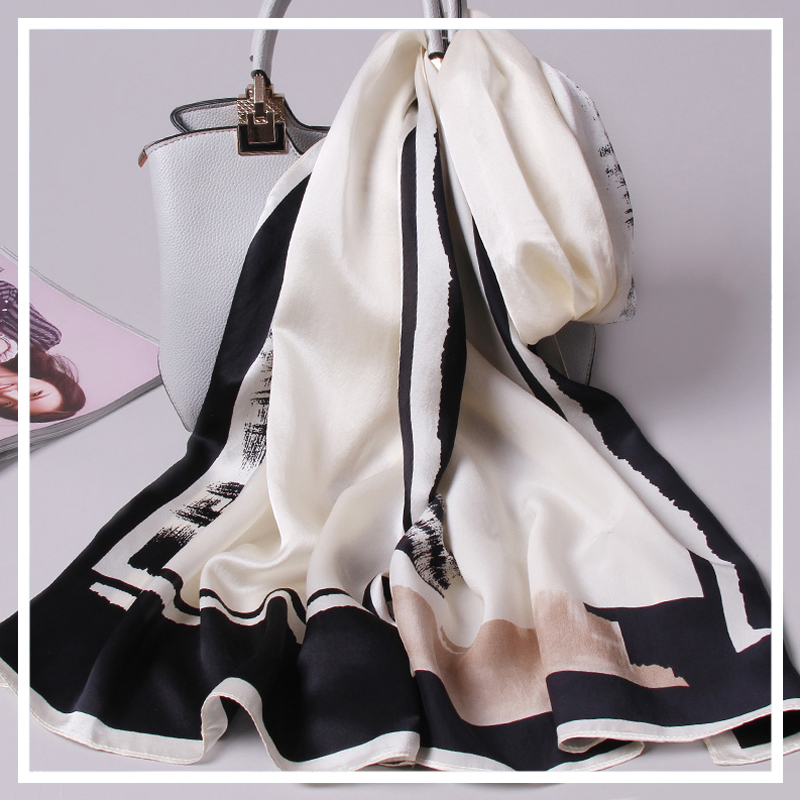 100% Pure Silk Scarf Ladies 2019 New Real Hangzhou Silk Wraps for Women Print Shawls Vintage Scarves Silk Natural Foulard Femme