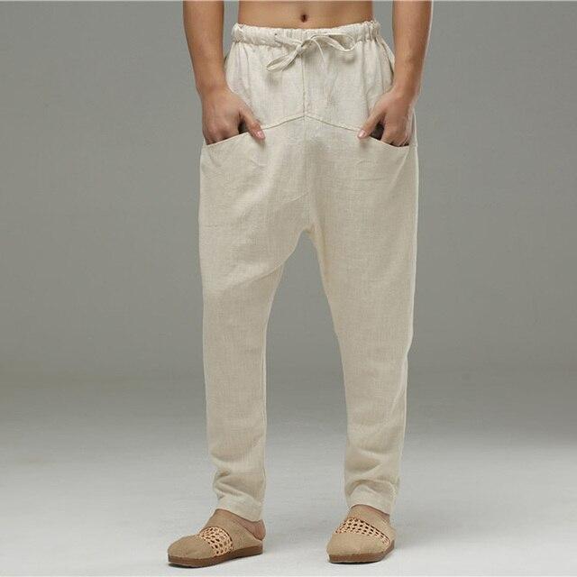 Men Cotton and Linen Casual pants – Simple Pure Color Cotton and Linen Pants CB0p8