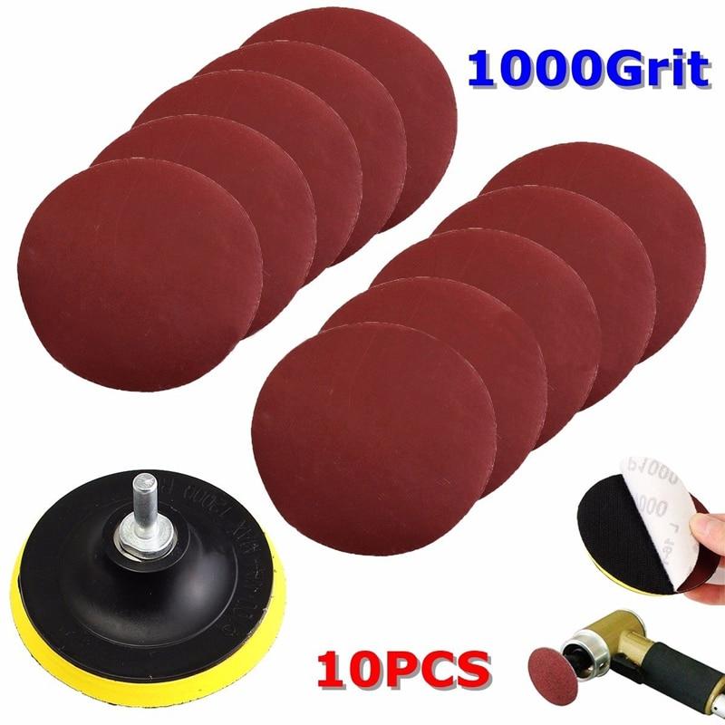 10Pc 4'' Sanding Disc Sandpaper Hook Loop 1000 Grit + Backer Pad + Drill Adapter