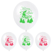 12Inch Red Green Merry Christmas Moon Tree Latex Balloons Happy New Year Decorations Confetti Balloon