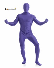 2017 Adult Full Body Spandex Lycra Zentai Suit Purple Tight Suits Pure Color Halloween Party Unitard