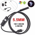 Wired 5.5mm Lente 6 LED Android USB Impermeable Endoscopio Android cámara Boroscopio Cámara de Inspección Con 1 M 1.5 M 2 M 3.5 M 5 M Cable