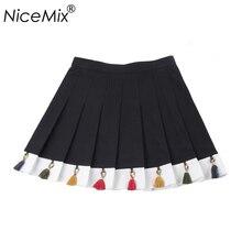 NiceMix 2019 Summer Plus Size Tassel Skirts Womens Vintage Casual Jupe Ladies Kawaii Harajuku High Waist Saia Skirt Femme