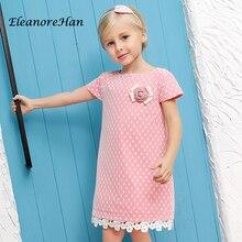 EleanoreHan Брендов Розовый 2016 новое лето аппликация пояс Дети детская девушка Платье Принцессы Платья для девочек одежда ac05