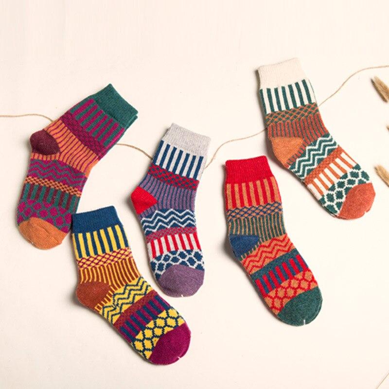 5pair National Style Geometry Patterned Knit Woolen Short Socks Women Winter Warmth Harajuku Socks Female Colored Funny Socks in Socks from Underwear Sleepwears