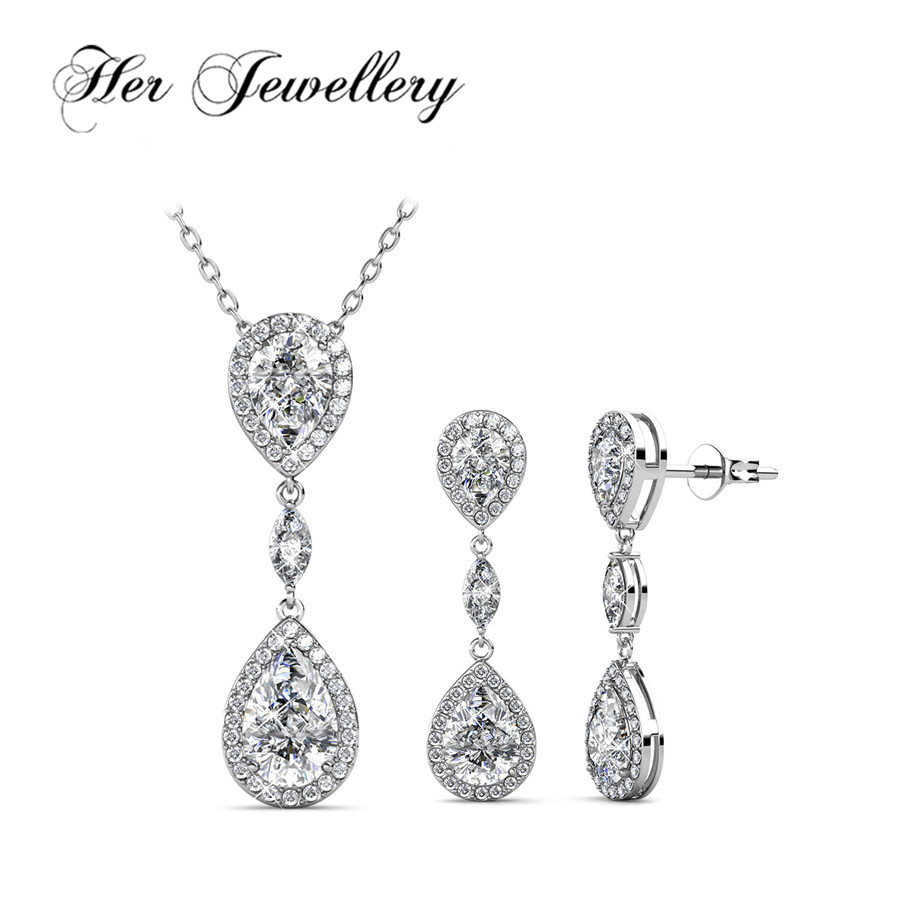 Her Jewellery Luxury crystals Earrings and necklace Jewellery set Made with crystals from Swarovski ,Water Drop jewellery HS177 цена