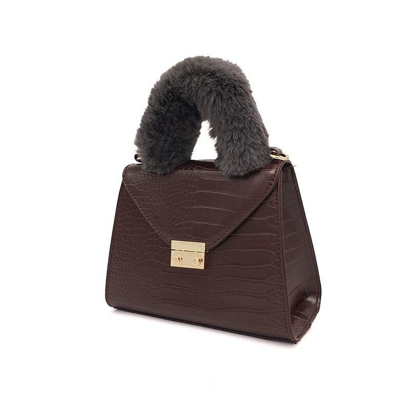 TINTON 2018 New Korean Fashion Women Messenger Bags Crocodile Pattern Faux Fur Decorative Handle Shoulder Bag Women Handbag