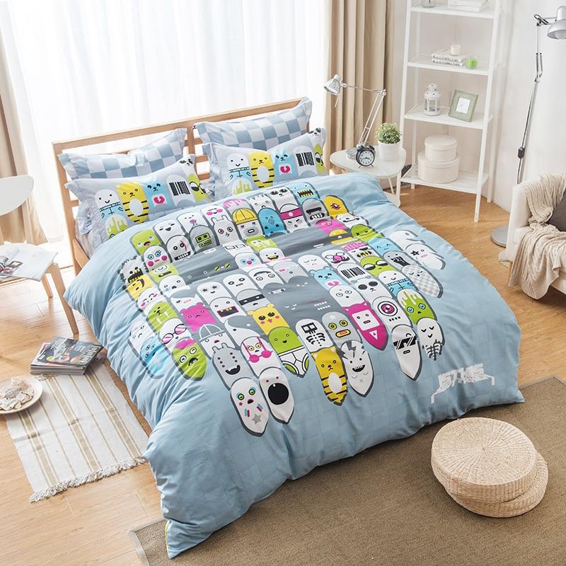 Unique Design Kawaii Emoji Bedding Sets Queen Size Pure Cotton Printed Bed  Sheets Pillowcase Duvet Cover 200 230cm 0489da85c