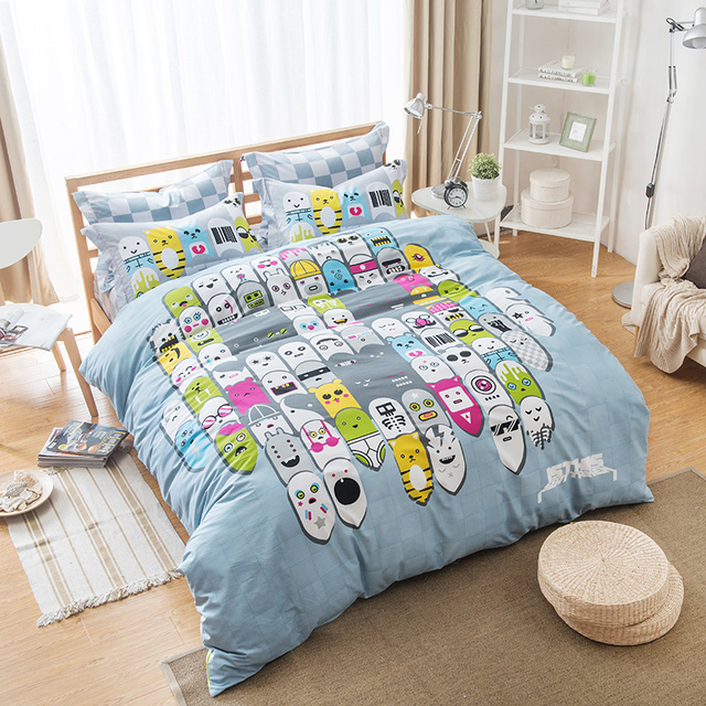 Unique Design Kawaii Emoji Bedding Sets Queen Size Pure Cotton Printed Bed Sheets Pillowcase Duvet Cover