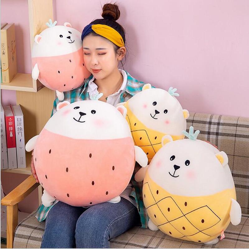 New Creative Fruits Fat Bear Short Plush Toys Stuffed Animal Doll Toy Soft Pillow Children Gift Baby
