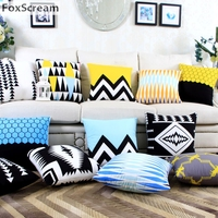 Nordic Style Geometric Cushion Vintage Red Black And White Pillow Yellow Palm Tree Starfish Cushion Home