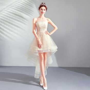 2019 New Arrival High Low Light Champagne Prom Dresses Strapless Appliques Beaded Sleeveless Formal Birthday Party Dresses