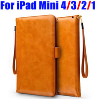 Retro Style Cards Slot Wallet Bag Smart Cover PU Leather Case For IPad Mini 4 3