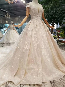Image 3 - LSS083 shiny lace bling wedding dresses off the shoulder sweetheart long train vestido de novia para boda civil corto