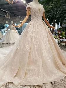 Image 3 - LSS083 מבריק תחרה בלינג חתונה שמלות כבוי כתף מתוקה ארוכה רכבת vestido דה novia para ודהה אזרחי קורטו