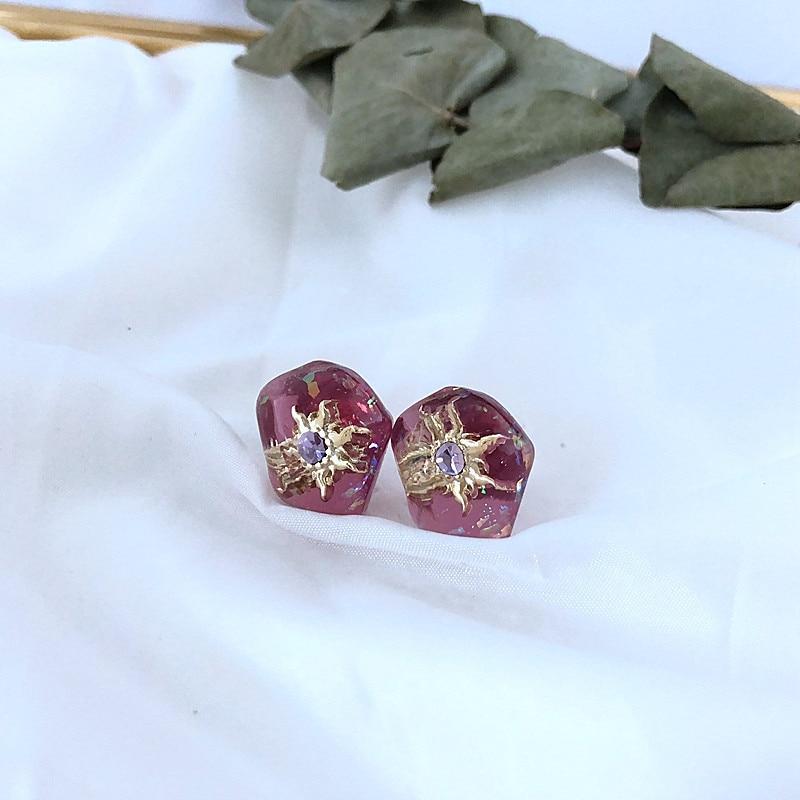 adorn article geometrical irregular melting alloy niche dream repeatedly resin star stud earrings