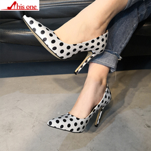 2019 new Brand Design Polka Dot Big Size 35-47 Sexy Pointed Toe Party Women Shoes Thin High Heels Office Lady Shoes Woman Pumps karinluna new arrivals big size 31 43 round toe platform women shoes woman elegant spike high heels party office lady pumps