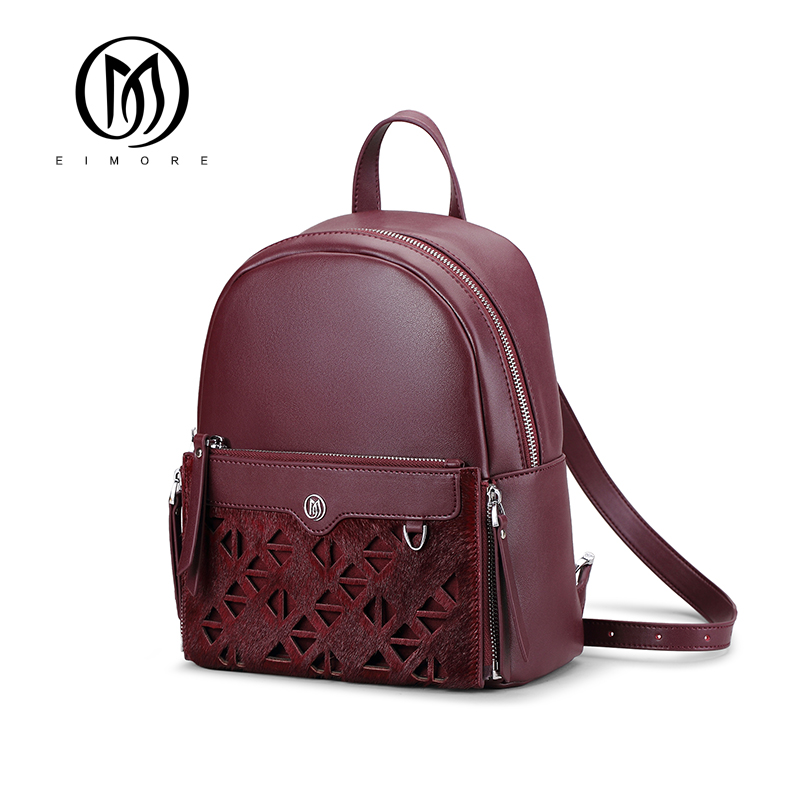 EIMORE Brand Genuine Leather Backpack Women Famous Shoulder Bags Teenager Girls Casual Bags New Backpack Bags for women 2017 2017 new style genuine leather women bags punk women double shoulder bags black cow leather casual travel backpack