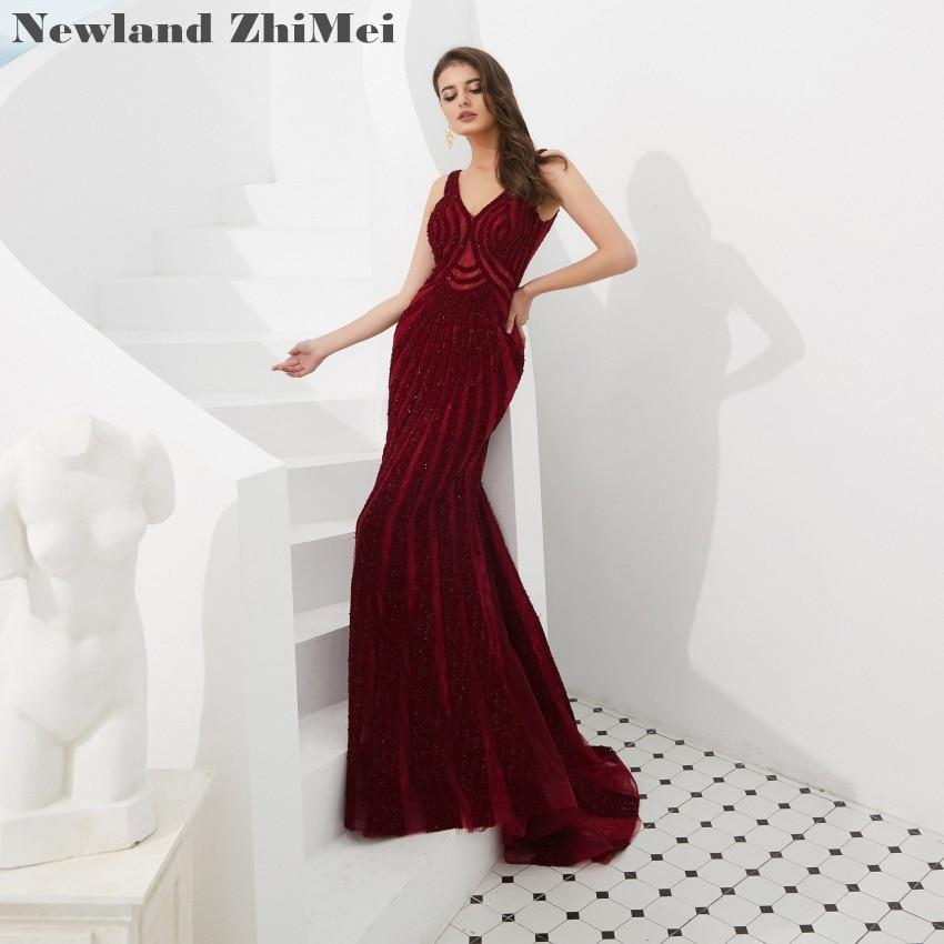Robe de bal bordeaux élégant 2018 magnifique col en V dos nu gaine formelle robe robes gala jurken