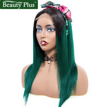 4x4 Lace Front Human Hair Wigs Baby Hair Beauty Plus Remy 1B Green Ombre Brazilian Straight Hair Burgundy Purple Lace Front Wigs(China)