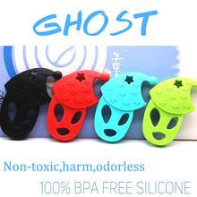 Φάντασμα σχήματος σιλικόνης Teether BPA Δωρεάν σιλικόνης κρεμαστό κόσμημα ζώων για DIY πιπίλα κλιπ αλυσίδα πιπίλα αλουμινίου σιλικόνης μωρό παιχνίδι οδοντοφυΐας